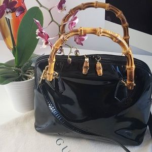 Vintage Gucci patent bamboo bag - 100% authentic